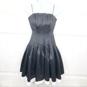 Camille La Vie Black Pleated Formal Midi Dress 0